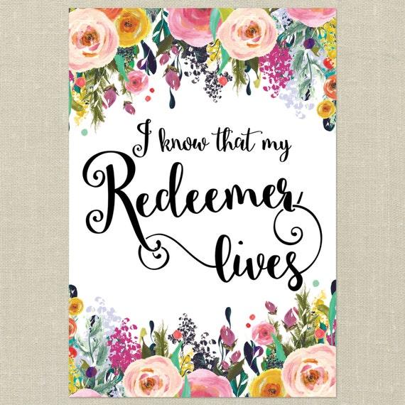 Bible verse printable arti know that my redeemer like this item stopboris Choice Image