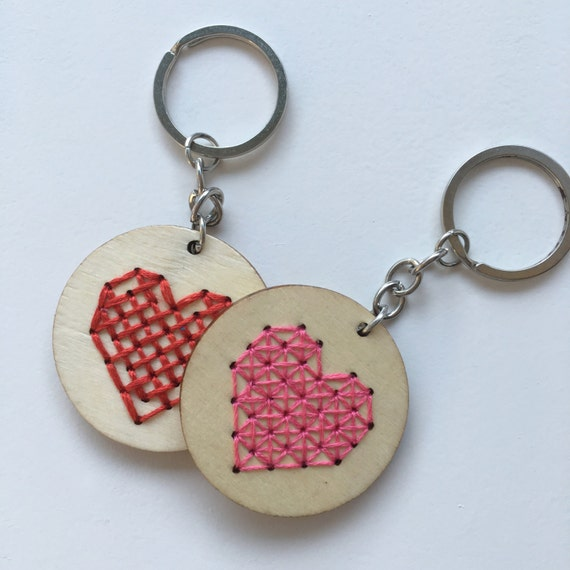 Diy wooden keychain cross stitch embroidery heart