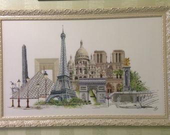 "cross stitch picture ""Paris"""