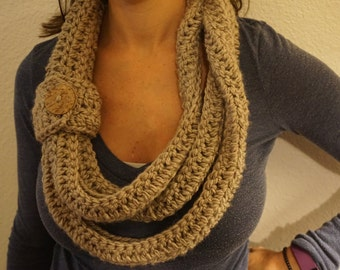 Triple Layer Infinity Scarf with Button