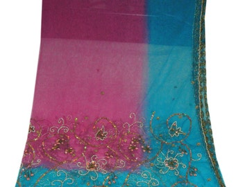 Pink Vintage Dupatta Sequins Fabric Wrap Scarf Hijab Indian Decor Embroidered Long Stole SD1786