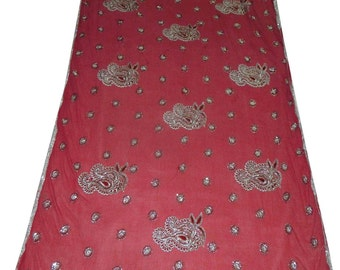 Red Vintage Dupatta Long Wrap Embroidered Scarf Hijab Indian Fabric Decor Stole Scarves SD2313
