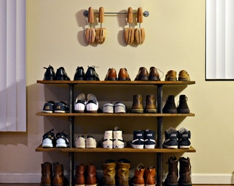 Industrial Pipe and Wood Shoe Rack
