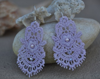 Light Lavender Lace Earrings with Swarovski Crystals and pearls