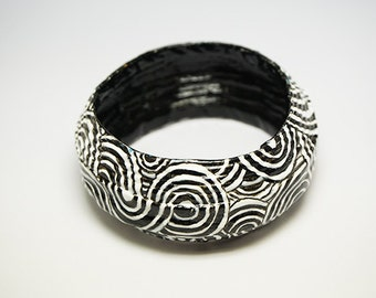 Hand painted bangle, recycled paper - black and white