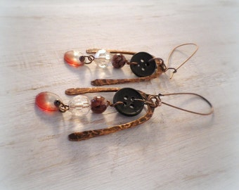 Dangle earrings, vintage assemblage button / bead / hammered copper earrings, rustic gypsy bohemian jewelry upcycled recycled eco friendly