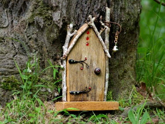 Rustic wooden arched fairy door with bell by smallhavens for Wooden fairy doors that open