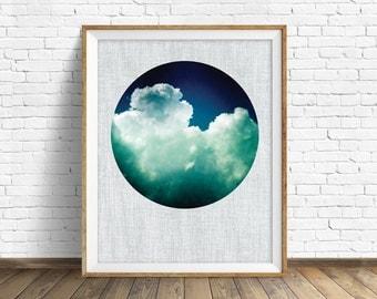 "cloud art, cloud photograph, large art, large wall art, instant download printable art, digital download, nature prints, blue - ""Morphosis"""