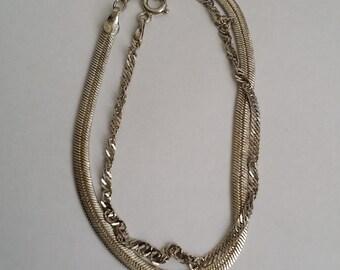 Vintage 925 Sterling Silver Bracelet & Silver Plated Flat Bracelet Set of 2