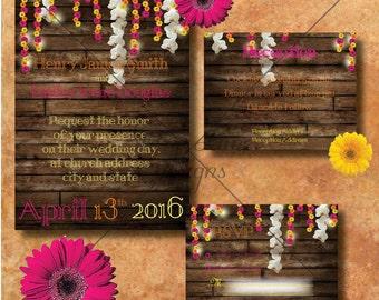 "Wedding Invitation/RSVP/Reception Card ""Indian Daisy"""