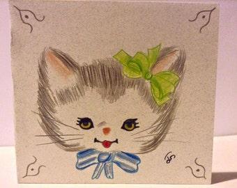 Vintage kitten card