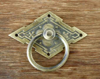 2x Antique Brass Draw Pull, Balinese Style Diamond  - Set of 2