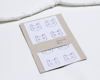 Glamour Cat Round Stationary Label Stickers, A set of eight.