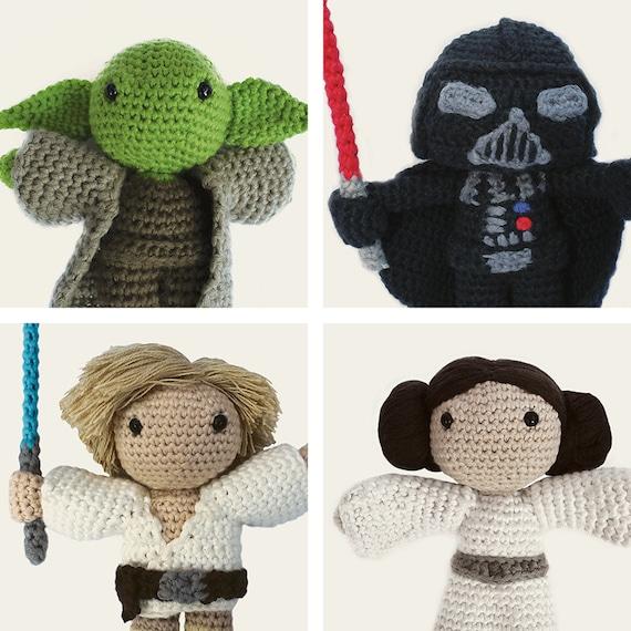 Star Wars Pack: Yoda, Darth Vader, Luke Skywalker & Leia. Amigurumi Pattern PDF, DIY, Crafts, Crochet, Doll, Geek, Gift, Instant download