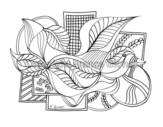 Abstract Bird Coloring Pages : Whimsical bird abstract coloring pages