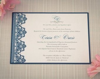 Navy Lace Invitations, Navy Lace wedding invitation, Navy lace invitation, Navy Lace Wedding Invitations, Lace and pearl wedding invitation