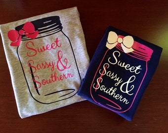 Womens sweet sassy southern T-shirt with mason jar on back and monogram on front left pocket