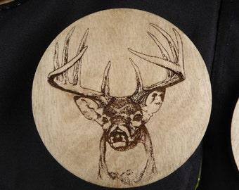 Set of 4 Round Birch Wood Coasters