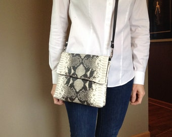 Leather Python print crossbody bag