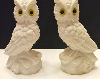 Home Decor - Owl sculpture-Snow Owl figurines-Vintage Sandstone owls- Yellow Glass Eyes- Adorable Owls sculptures-cabin decor