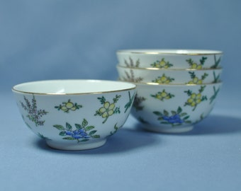 Old Chinese hand paint flowers porcelain bowls set of 4 DSC_00606