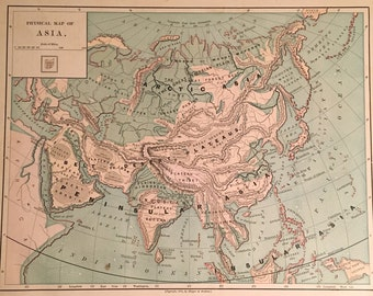 "1875 Antique Physical Map of Asia, Original 9"" x 12"" Color Map, Vintage Color Map"