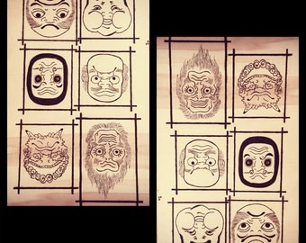 Japanese face mask on wooden board - Pyrography