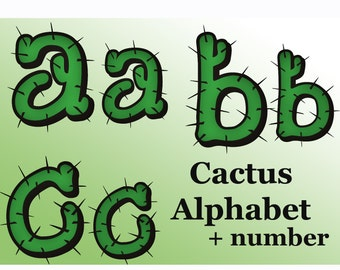 Cactus alphabet clipart  Plant Digital alphabet Cactus Monogram Scrapbooking Elements Personal and Commercial Use