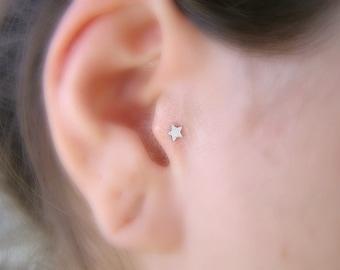 Cartliage Earring , Helix Piercing , Silver Star 16ga Stud , Tragus Stud , Single