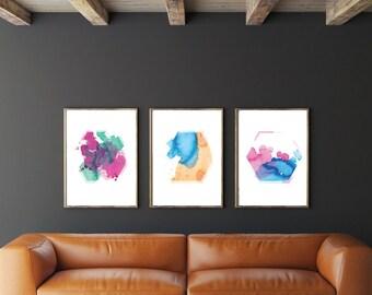 Hexagonal Watercolor Print A5 A4