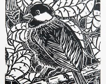 Bird in Tree (Original Linocut Print)