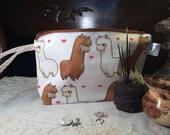 "Knitting Project Bag ""Alpaca <3"" (Medium Wedge & Stitch Markers)"