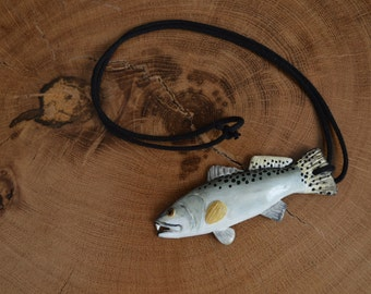 Speckled Trout Necklace, Spotted Sea Trout Necklace, Sea Trout, Clay