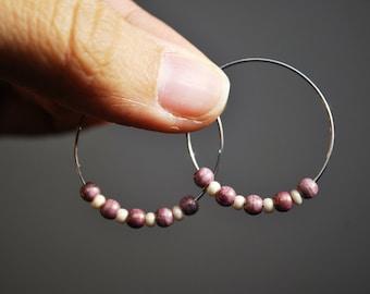 Pink Stone Hoops