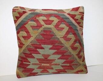 Kilim pillow - Anatolian pillow - Red kilim pillow - Rug pillow - Kilim throw pillow - Turkish kilim - Vintage pillow - Bohemian pillow