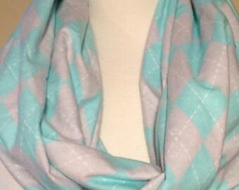 Argyle Infinity Scarf Scarfs Scarves Blue Grey Flannel Soft Pattern