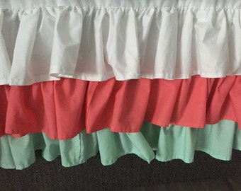 Waterfall crib skirt | ruffled three tier crib skirt | Custom crib skirt | mint dust ruffle | coral and mint crib skirt |