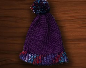 Purple and Multi Hat