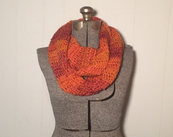 Crochet Infinity Scarf - Wildfire / Gift for mom, sister, friend, grandma