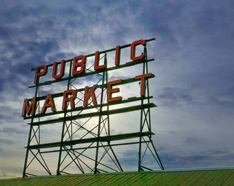 Photo Art for a Cause - Download Print of Public Market Sign from Seattle, Washington - Modern, HDR, Photo, photography, green, blue, sky