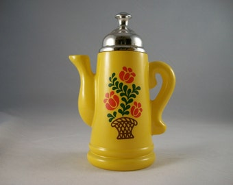 Vintage Avon Yellow Folk Art Glass Perfume Fragrance Decanter Bottle Coffee Percolator