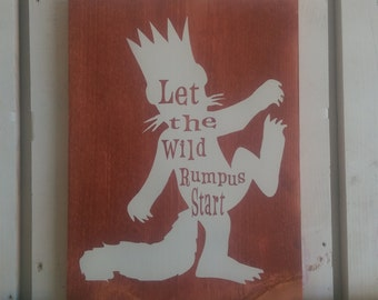 Where the Wild Things Are by Maurice Sendak, nursery sign, individual or three piece set