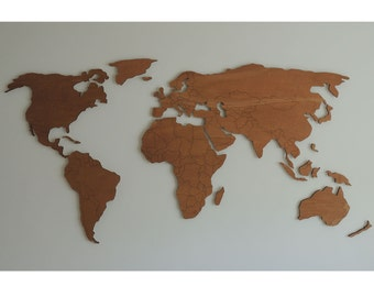 3d wooden world map XXL with engraved land borders, floating on the wall
