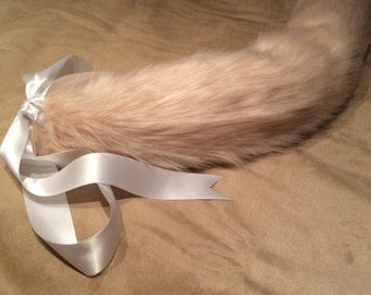 Luxury 25 Inch Peachy Pink With White Tip Kitten Play Faux Fur Tail.