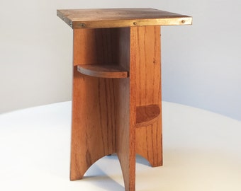 Oak and copper side table arts & crafts style