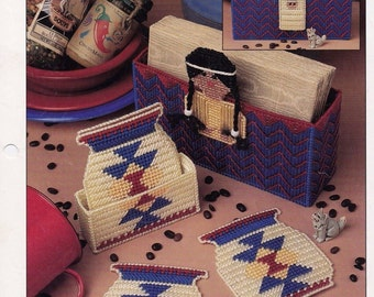 Indian Coasters & Napkin Set, Plastic Canvas Pattern Leaflet PLCX313-04  Part of 'Annie's International Plastic Canvas Club Collection