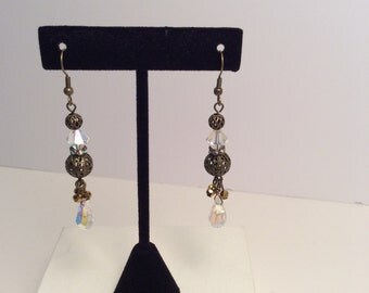 Antique Gold Swarovski Crystal Earrings