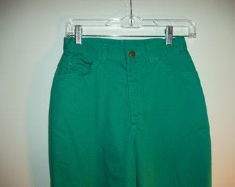 80's LL Bean pants// Vintage high waist hipster geek kitsch teal green mom jeans// Women' size small 4  5  6  USA 26 W