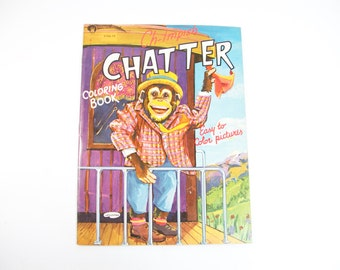 "Vintage ""Ch-impish Chatter"" coloring book Monkey 1950s"