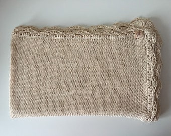 100% cotton blanket for baby 80x100 cm handknitted gift